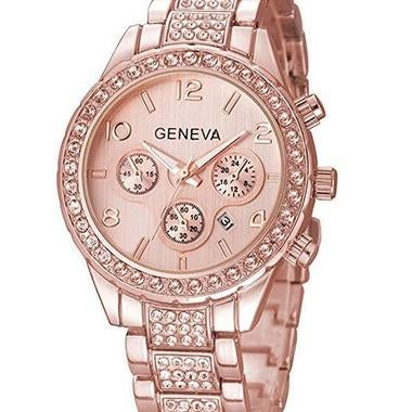 Luxury Geneva Crystal RoseGold  Women Stainless Steel Quartz Watch