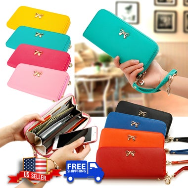 New Fashion Lady Bow-Tie Zipper Around Women Clutch Leather Long Wallet Card Hol