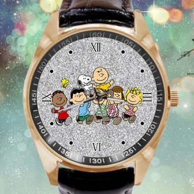 Snoopy Image Custom Leather Band Quartz Sport Analogue Wrist Watch Best Gift