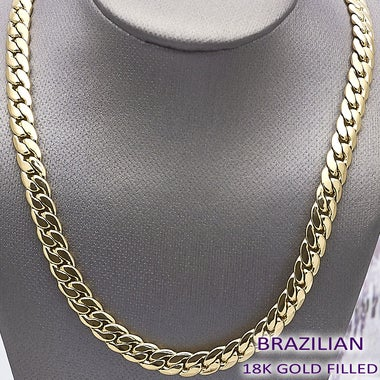 King Living Thick Gold Filled Cuban Link Chain, 6mm wide, 24 Inches , Tarnish-Re