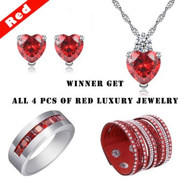 Winner Get All 4 pcs of Luxury Red Jewelry