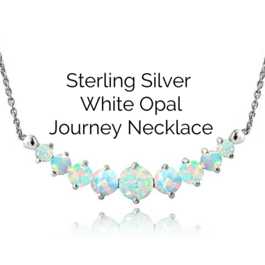 Sterling Silver Simulate White Opal and Diamond Accent Journey Necklace