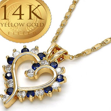 Classic Open Heart Necklace, Natural Colombian SAPPHIRE Gem Stone Flawless 6.0ct