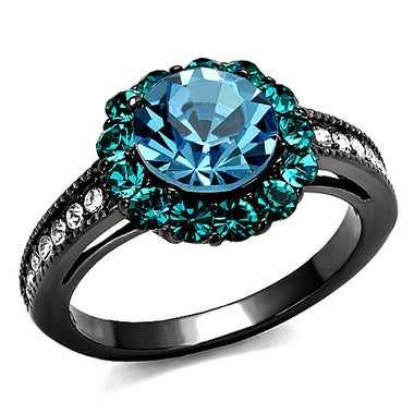 Black Gold Round Blue CZ With White Stones Ring