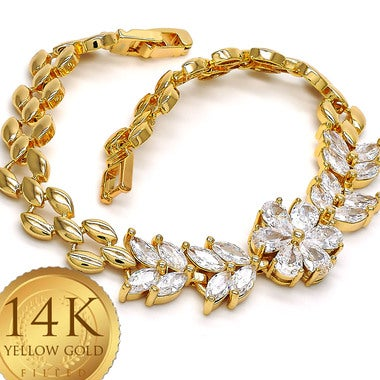 5.5 Ctw White Sapphire Brilliant, Marquise and Halo Cut, Gold Filled Tennis Brac