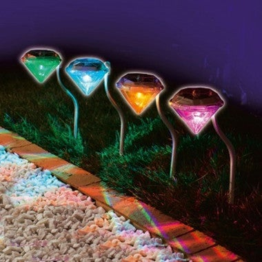 1pcs Solar Power LED Diamond Lawn Fence Light Outdoor Ground Yard Colorful Light