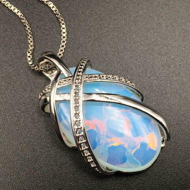 Estate Modernist 22CTW polished white oval opal pendant necklace
