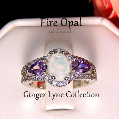 Chelsey Oval Shape Lab Created Fire Opal Purple CZ  Ring - Ginger Lyne Collectio