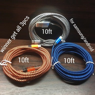 3pcs.........10ft (random color) high quality USB cable for Samsung/android/blue