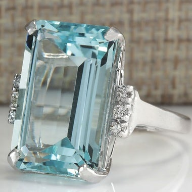Women's 10.48CT Natural Aquamarine 925 Sterling Silver Wedding Ring