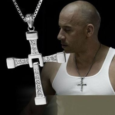 Silver Plated Rhine Stone Cross Necklace
