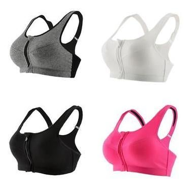 Womens Sport Yoga Top Bra for Running Gym Workout Wire Free Front Zipper