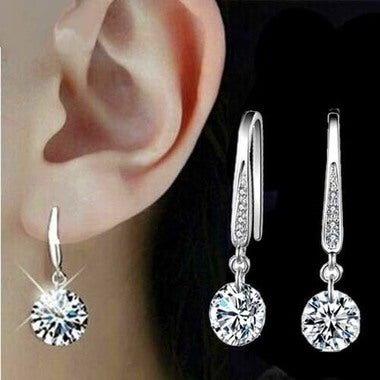 Korean Version of The Best Selling Zircon Diamond Earrings Hot Silver Plated Ear