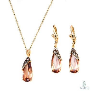 18K Gold Plated Gold and Swarovski Elements with Marcasite Wrapped Teardrop Earr