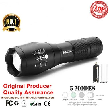 Flashlight LED Cree XML T6 Flashlight 3800LM Waterproof Zoomable Rechargeable 18