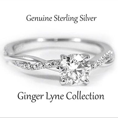 Queena Stunning 925 Sterling Silver Engagement Ring - Ginger Lyne Collection