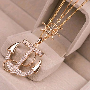 New Fashion White Navy Crystal Rhinestone Anchor Rudder Pendant Long Chain Sweat