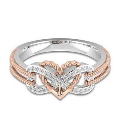 Women's Sterling Silver Over Rose Gold Heart Shaped Distorted Ring