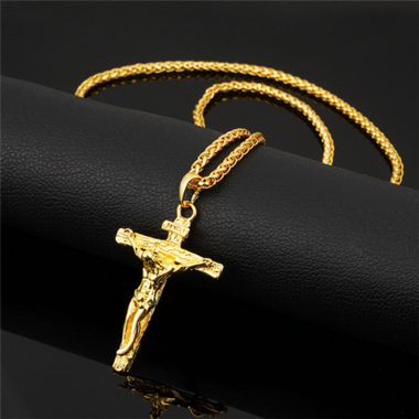 20'' White Gold Plated/Gold Plated Cross Pendant   (Come with necklace as a pres