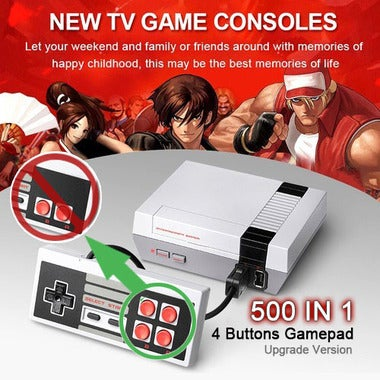 (4 Buttons Upgrade Version) 500 IN 1 4 Buttons Gamepad Mini Retro TV Game Consol