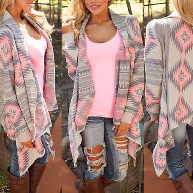 Women Long BohoThin Cardigan Loose Sweater Sleeve Knitted Outwear Tops Jacket Co