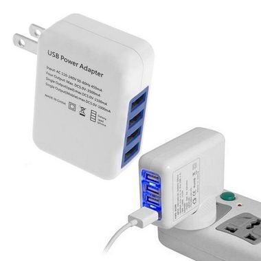 White 2.1A 4Port USB Portable Home Travel Wall Charger AC Power Adapter US Plug