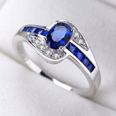 Jewelry Blue Diamonique B Wedding Ring