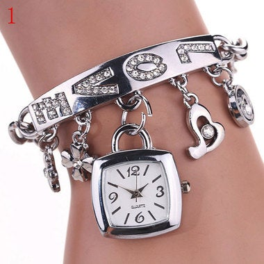 Luxury Crystal Bracelet Wristwatch With LOVE Word and Shining Pendant