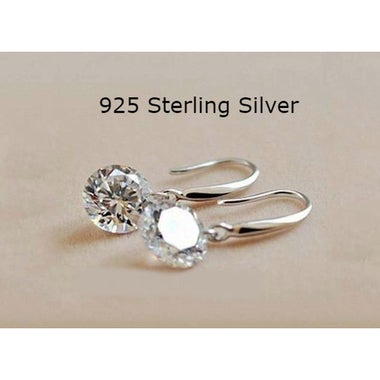 Sterling Silver .925 Stamped Naked Drop Hook Earrings