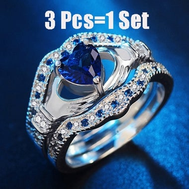 3 Pcs/Set  Heart Crown Wedding Ring Sets Crystal Zircon Jewelry