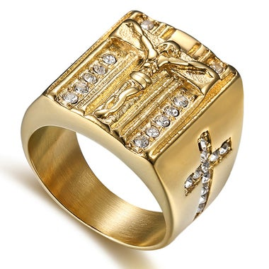 Titanium men ring 18K gold plated Jesus cross ring