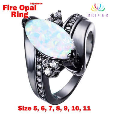 2017 New  2.0 CTTW Oval Synthetic Opal Ring in 18K Black Gold Filled