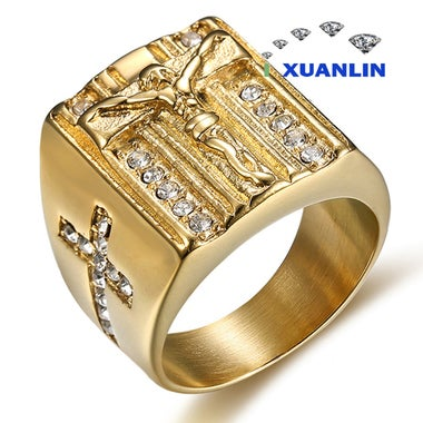Luxury 18K gold plated titanium men ring classic Jesus cross ring