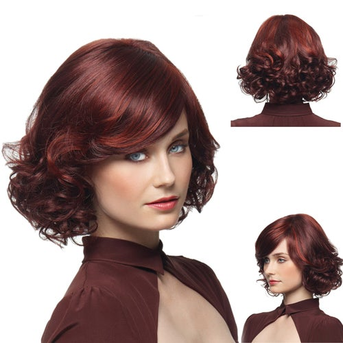 Burgundy color shift points in the hair, short volume wig pear personality Peng