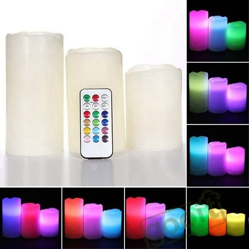 "Set of 3 LED Ivory Color Flameless Candles With Remote Control 4"" 5"" 6"""