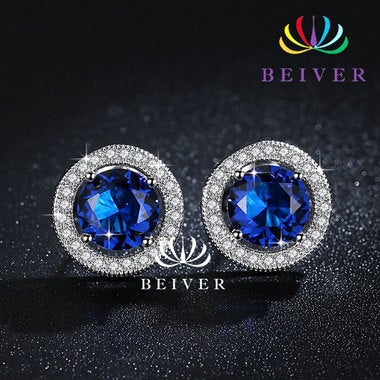 Luxury 2.0 cttw Brilliant Cut Blue CZ Earring in White Gold Filled