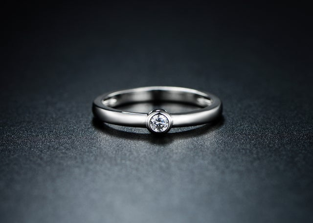 White Gold Filled & CZ Solitaire Engagement Ring