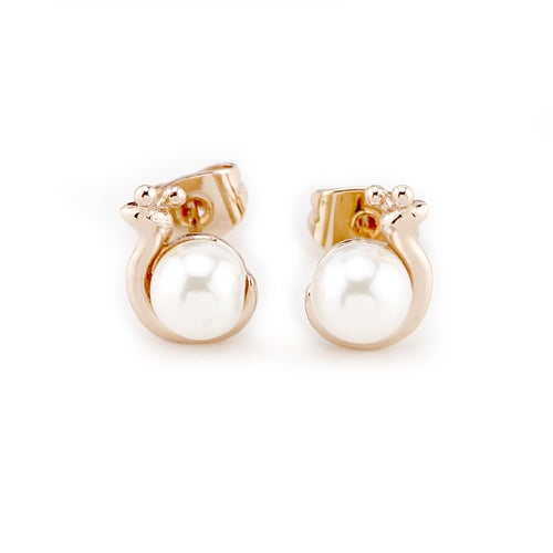 Adorable Snail White Faux Pearl Stud Earrings 14K Yellow Gold Plated