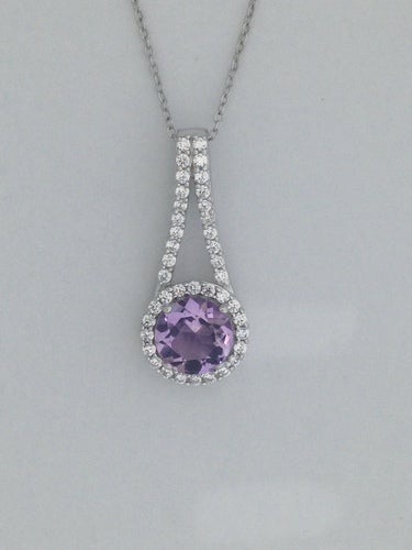 Natural Amethyst with White Topaz Pendant 925 Sterling Silver