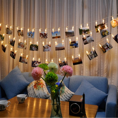 Elinkume LED Holiday Lighting 20LED Photo Wall String 1M Clip Birthday Valentine Party Light Warm White Deco Creative Home