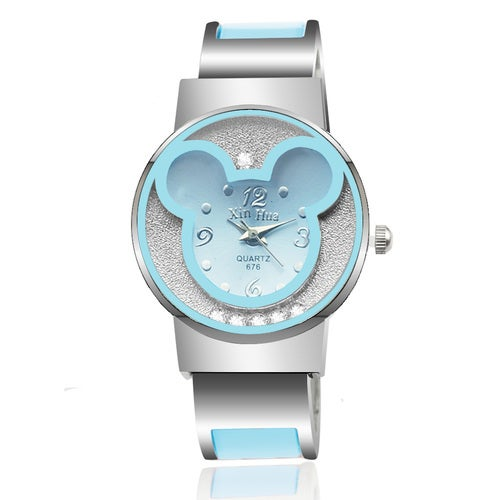 Luxury Silver Band Bracelet Wristwatch,Blue Mouse Head Dial Gift Watch