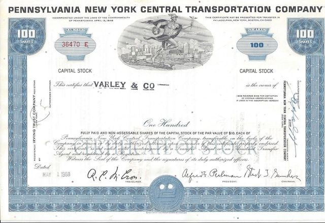 100 SHARES Vintage Pennsylvania New York  Central Transportation Company stock certificate 1960's