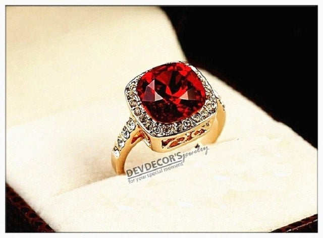 (#59) 18K Rose Gold Ring With Dazzling Red Cubic Zirconia