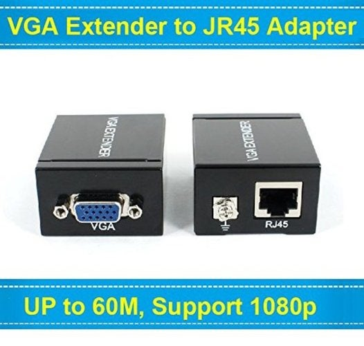 1080P VGA Signal 60M Extender Repeater Adapter over Single RJ45 Cat 5e Cat6 Network Cable (1 Transmitter + 1 Receiver)