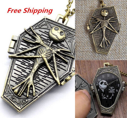 Free Shipping Hot Sale Burton's Nightmare Before Christmas Necklace Pendant Pocket Watch