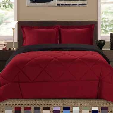 Reversible Down Alternative Comforter 3 Piece Bedding Set - All Sizes and Assort