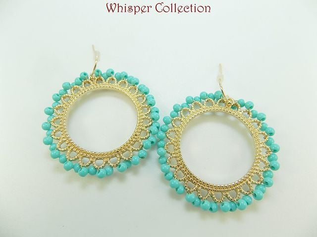 dc7abca234992 SEXY Gold & Turquoise Pop of Color Open Disk Pierced... | Tophatter