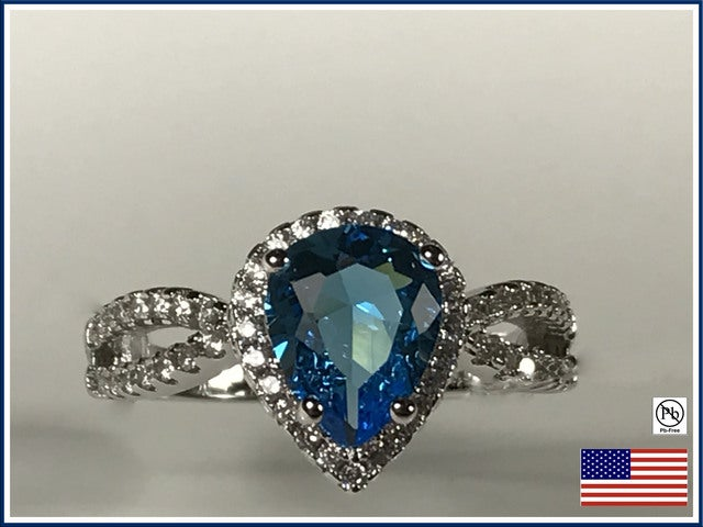 Cubic Zirconia on .925 Silver Ring.