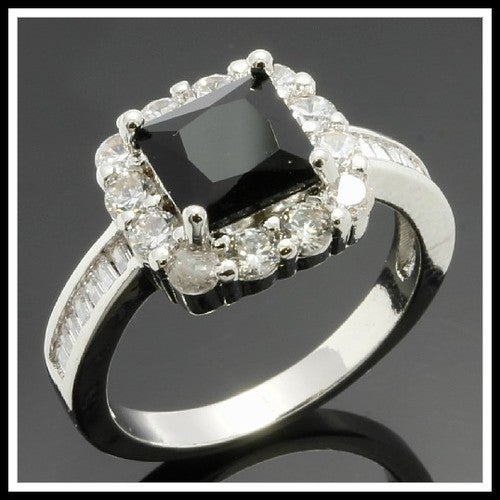 14k White Gold Filled, Beautifully Created Fine Black & White Sapphire Ring SM8340