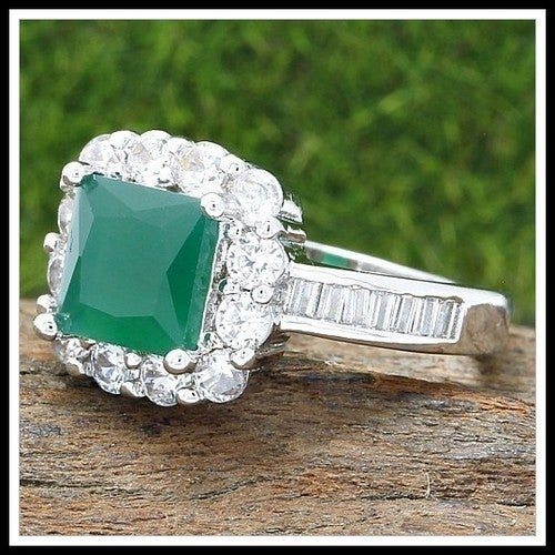 14k White Gold Filled Emerald & White Sapphire Ring SM8378